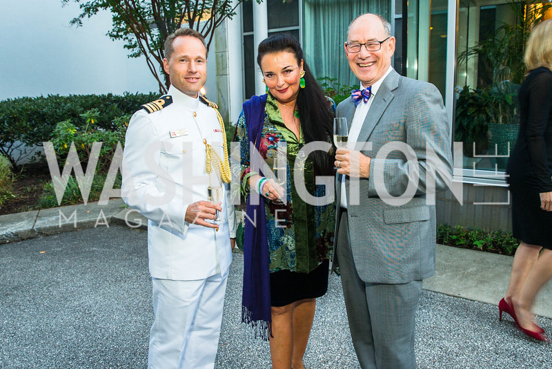 Jakob Rousoe, Rhoda Septilici, Mark Menzer . Photo by Alfredo Flores. Innovating Through Business Partnerships 2016 reception. Embassy of Denmark. September 27, 2016