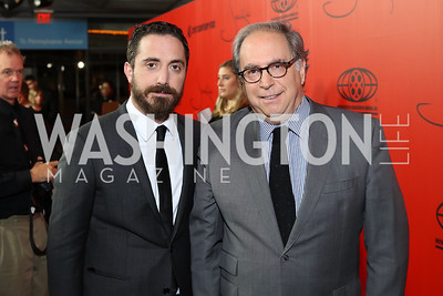 "Director Pablo Larrain, Chile Amb. Juan Gabriel Valdes. Photo by Tony Powell. ""Jackie"" DC Premiere Screening. Newseum. December 1, 2016"