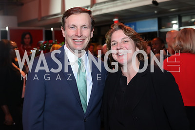 "Sen. Chris Murphy, Mindy Myers. Photo by Tony Powell. ""Jackie"" DC Premiere Screening. Newseum. December 1, 2016"