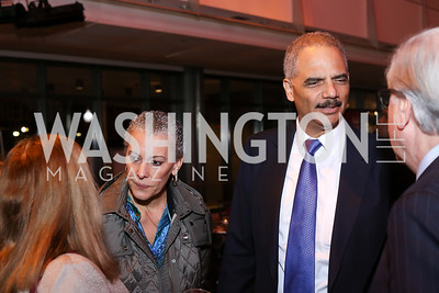 "Sharon Malone and former Attorney General Eric Holder. Photo by Tony Powell. ""Jackie"" DC Premiere Screening. Newseum. December 1, 2016"