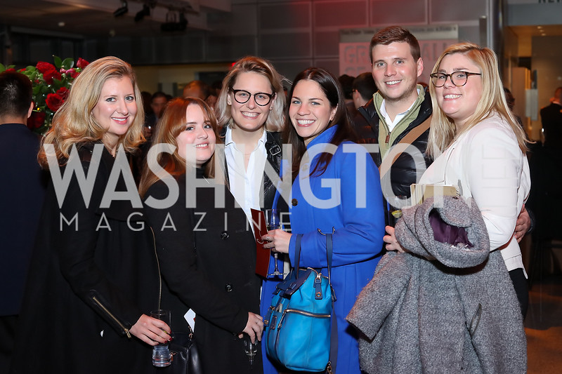 "Alexandra Barnett, Alejandra Buitrago, Leah Nelson, Katie Gommel, Cory Combs, Jessica Hoy. Photo by Tony Powell. ""Jackie"" DC Premiere Screening. Newseum. December 1, 2016"