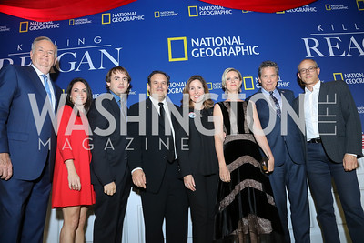 "Bill O'Reilly, Courteney Monroe, Kyle S. More, Rod Lurie, Carolyn Bernstein, Cynthia Nixon, Tim Matheson, David Zucker. Photo by Tony Powell. ""Killing Reagan"" Premiere Screening. Newseum. October 6, 2016"