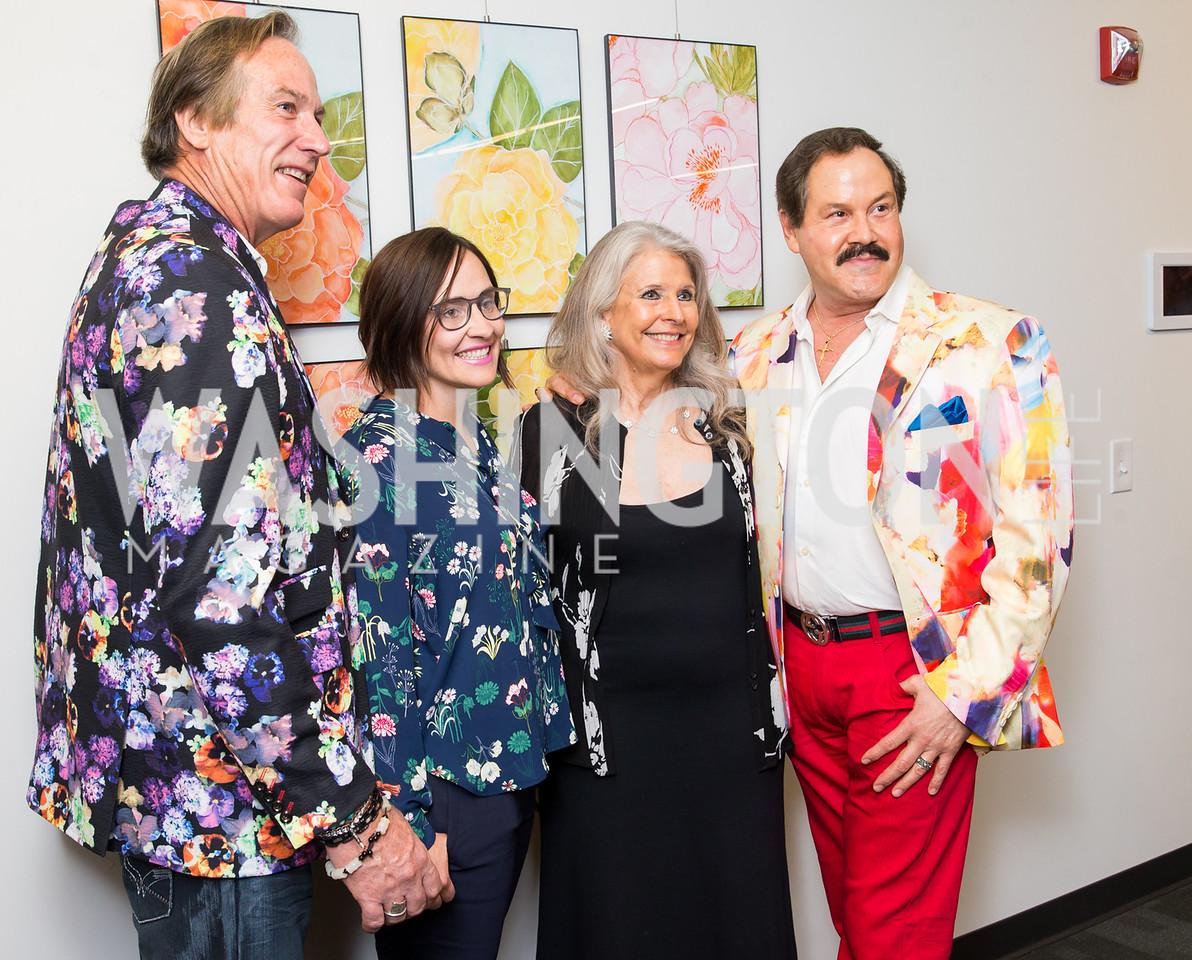 Tom Noll, Laura Gunn, Barbara Hawthorn, José Alberto Uclés. Photo by Erin Schaff. Open House Featuring Artwork by Laura Gunn. Higher Logic. August 25, 2016.