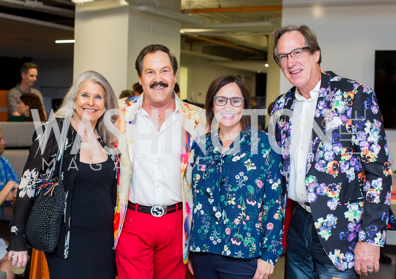 Barbara Hawthorn, José Alberto Uclés, Laura Gunn, Tom Noll. Photo by Erin Schaff. Open House Featuring Artwork by Laura Gunn. Higher Logic. August 25, 2016.