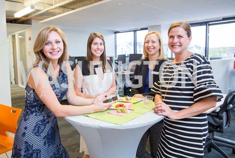 Marina Devalia, Caitlin Struhs, Yulia Koryakina, Kim Deering. Photo by Erin Schaff. Open House Featuring Artwork by Laura Gunn. Higher Logic. August 25, 2016.