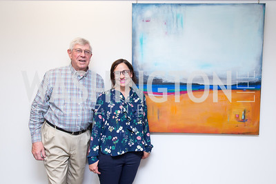 Joseph DiGangi, Artist Laura Gunn. Photo by Erin Schaff. Open House Featuring Artwork by Laura Gunn. Higher Logic. August 25, 2016.