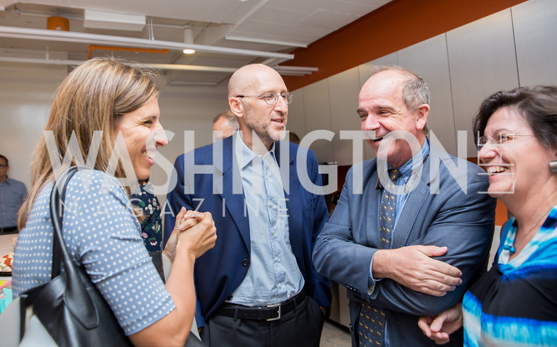 Irene Castagnoli, Deputy Chief of Mission for the Italian Embassy Luca Franchetti Pardo, Renato Miracco, Marta Franchetti. Photo by Erin Schaff. Open House Featuring Artwork by Laura Gunn. Higher Logic. August 25, 2016.