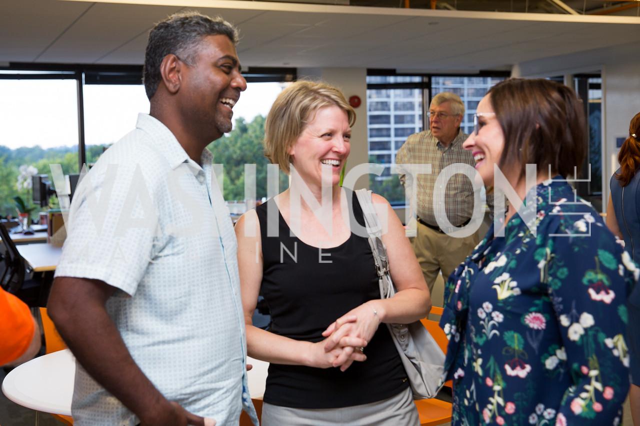 Prakash and Stephanie Arcot, Laura Gunn. Photo by Erin Schaff. Open House Featuring Artwork by Laura Gunn. Higher Logic. August 25, 2016.