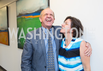 Marta Franchetti, Italian Embassy Cultural Attaché Renato Miracco. Photo by Erin Schaff. Open House Featuring Artwork by Laura Gunn. Higher Logic. August 25, 2016.