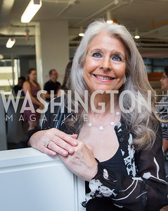 Event Co-Host Barbara Hawthorn. Photo by Erin Schaff. Open House Featuring Artwork by Laura Gunn. Higher Logic. August 25, 2016.