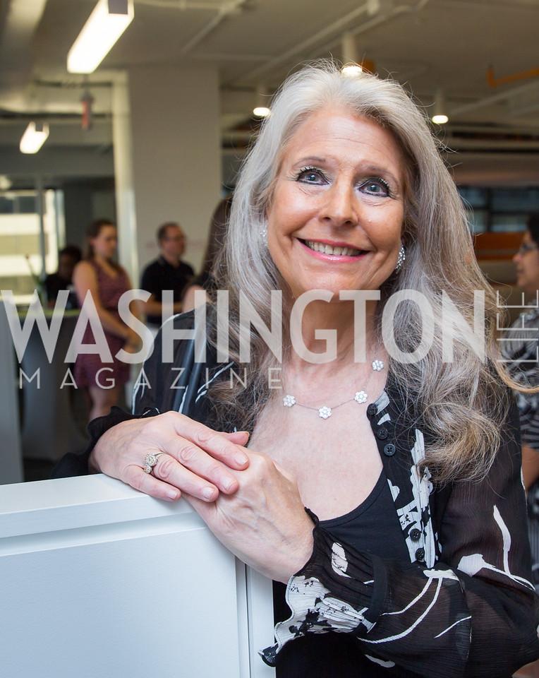 Event Co-Host Barbara Hawthorn. Photo by Erin Schaff. Open House Featuring Artwork by Laura Gunn. Higher Logic. August 25, 2016.