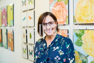 Artist Laura Gunn. Photo by Erin Schaff. Open House Featuring Artwork by Laura Gunn. Higher Logic. August 25, 2016.