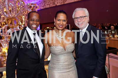 Howard University President Wayne Frederick and Simone Frederick, Wolf Blitzer. Photo by Tony Powell. MGM National Harbor Grand Opening. December 8, 2016