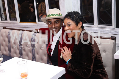 Marcus Samuelsson, Andrea Roane. Photo by Tony Powell. MGM National Harbor Grand Opening. December 8, 2016