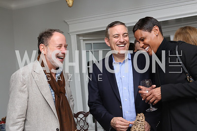 "Dan Melrod, Michael Wajsgeras, Tanya Baskin. Photo by Tony Powell. Mark Shriver ""Pilgrimage"" Book Party. Matthews Residence. November 17, 2016"