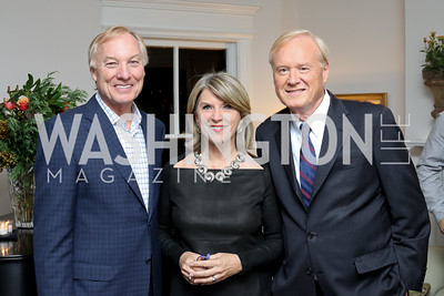 "Comptroller of MD Peter Franchot, Kathleen and Chris Matthews. Photo by Tony Powell. Mark Shriver ""Pilgrimage"" Book Party. Matthews Residence. November 17, 2016"