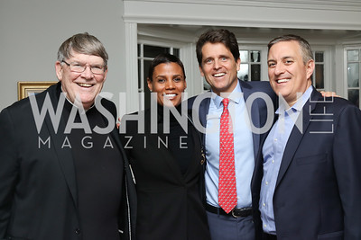 "Father John Enzler, Mark Shriver, Michael Wajsgeras, Tanya Baskin. Photo by Tony Powell. Mark Shriver ""Pilgrimage"" Book Party. Matthews Residence. November 17, 2016"