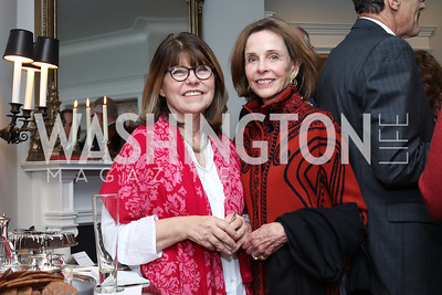 "Margaret Carlson, Eden Rafshoon. Photo by Tony Powell. Mark Shriver ""Pilgrimage"" Book Party. Matthews Residence. November 17, 2016"