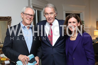 "Jack Gillis, Sen. Ed Markey, Marilyn Mohrman-Gillis. Photo by Tony Powell. Mark Shriver ""Pilgrimage"" Book Party. Matthews Residence. November 17, 2016"