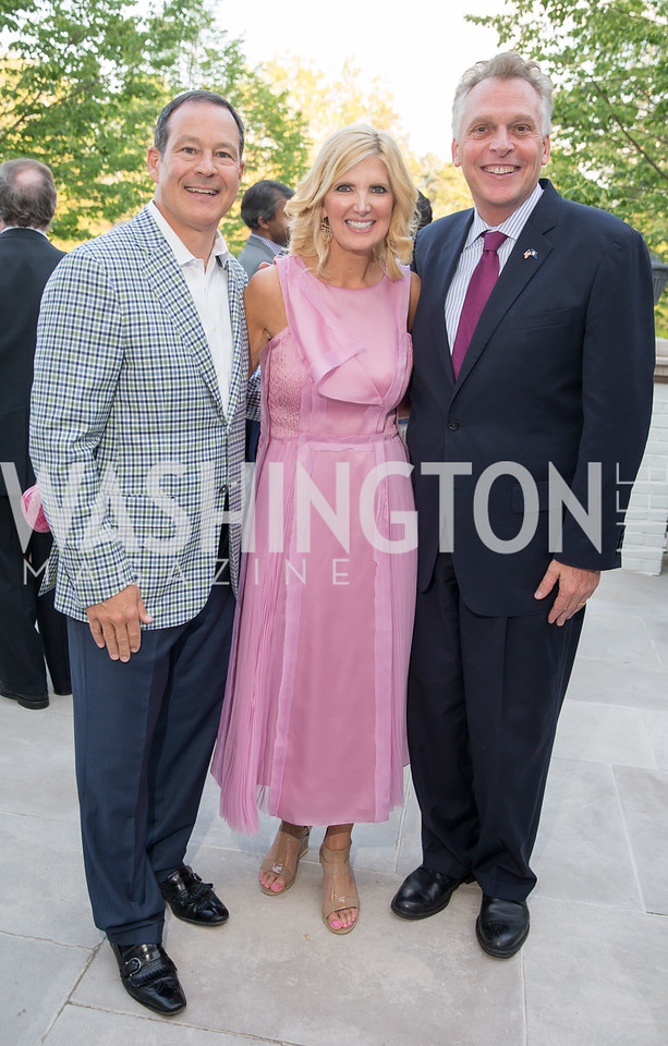 Alan and Ashley Dabbiere, Virginia Gov. Terry McAuliffe. Photo by Erin Schaff. 2016. McLean Project for the Arts Spring Benefit. The Gardens of Hickory Hill, the historic home of Ashley and Alan Dabbiere. May 24, 2016.