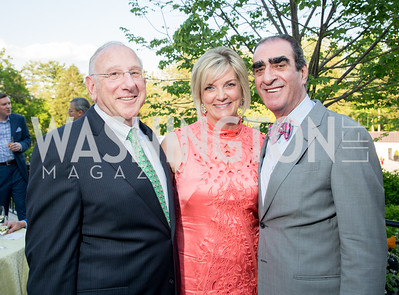 Bill Kilberg, Julie Lansaw Warin, Fuad Sahouri. Photo by Erin Schaff. 2016. McLean Project for the Arts Spring Benefit. The Gardens of Hickory Hill, the historic home of Ashley and Alan Dabbiere. May 24, 2016.