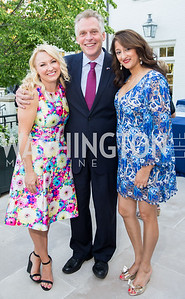 Event Co-Chair Lindsey Keatley, Virginia Gov. Terry McAuliffe, Event Co-Chair Sushma Shenoy. Photo by Erin Schaff. 2016. McLean Project for the Arts Spring Benefit. The Gardens of Hickory Hill, the historic home of Ashley and Alan Dabbiere. May 24, 2016.