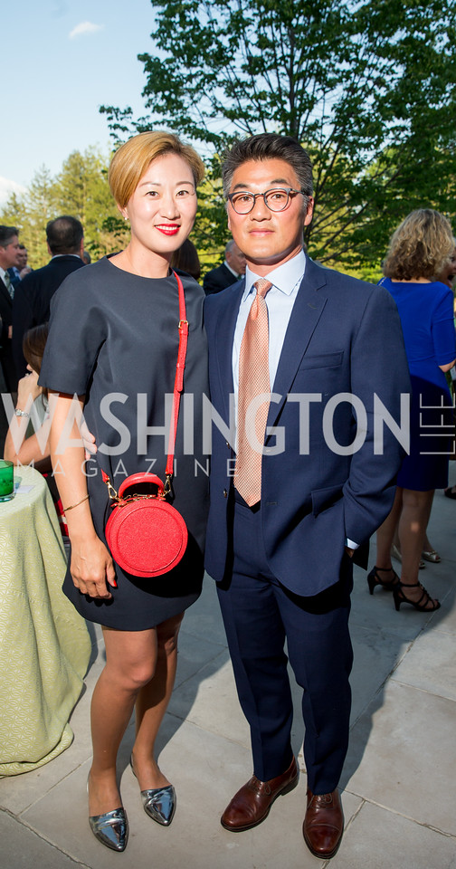 Jae and Bobby Han. Photo by Erin Schaff. 2016. McLean Project for the Arts Spring Benefit. The Gardens of Hickory Hill, the historic home of Ashley and Alan Dabbiere. May 24, 2016.