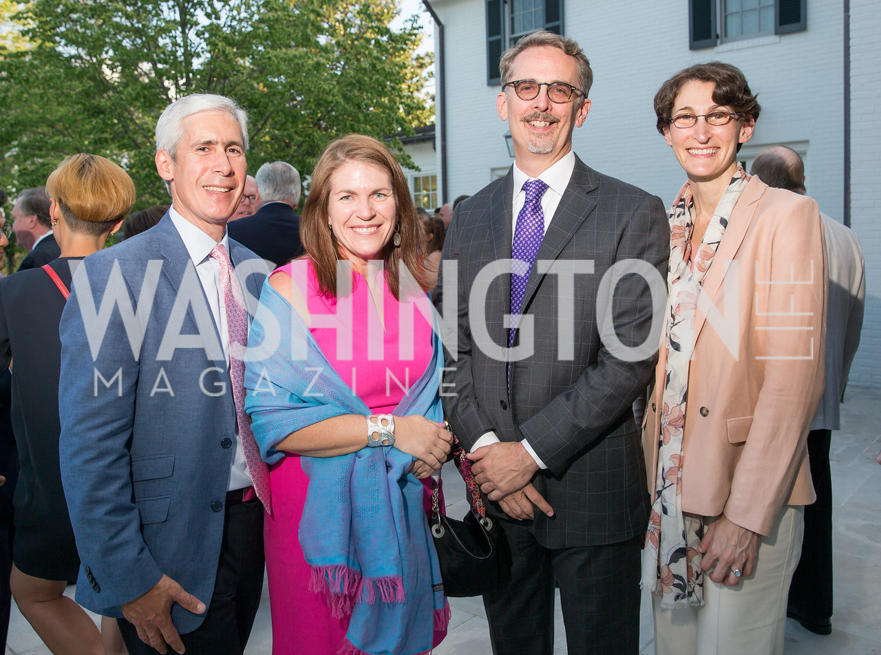 Juan Pablo and Kitty Gonzalez, Jack Wilbern, Stephanie Berkowitz. Photo by Erin Schaff. 2016. McLean Project for the Arts Spring Benefit. The Gardens of Hickory Hill, the historic home of Ashley and Alan Dabbiere. May 24, 2016.