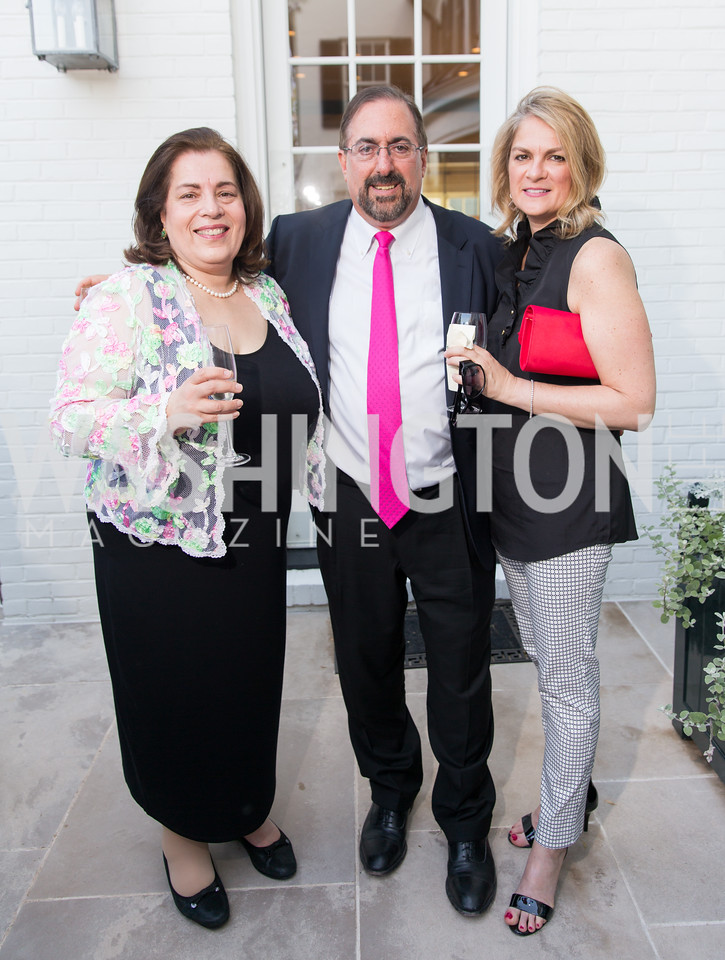 Leslie Kerman, Jeffrey Bialos, Jennifer Herzberg. Photo by Erin Schaff. 2016. McLean Project for the Arts Spring Benefit. The Gardens of Hickory Hill, the historic home of Ashley and Alan Dabbiere. May 24, 2016.