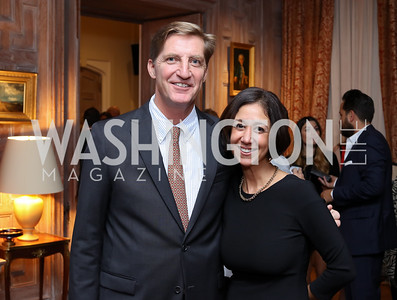 RAMW Board Chair John Snedden, RAMW President & CEO Kathy Hollinger. Photo by Tony Powell. Michelin Guide DC Launch Party. Residence of France. September 13, 2016