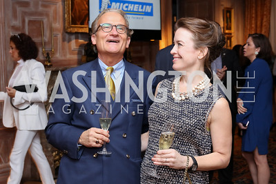 Dustin Grainger, Caroline Mousset. Photo by Tony Powell. Michelin Guide DC Launch Party. Residence of France. September 13, 2016