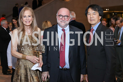 Karen Jordan Kelly and Dept. Director Franklin Kelly, Architect Perry Chin. Photo by Tony Powell. National Gallery East Wing Reopening. September 29, 2016