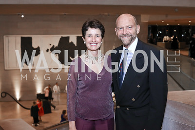 Joan Fabry, Michael Klein. Photo by Tony Powell. National Gallery East Wing Reopening. September 29, 2016