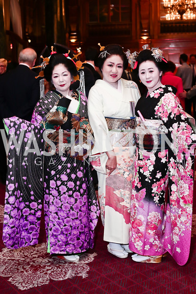 Miyoko Suzuki, Ayako Maita, Hiroko Makino. Photo by Tony Powell. Cherry Blossom Art Reception. Willard Hotel. April 14, 2016