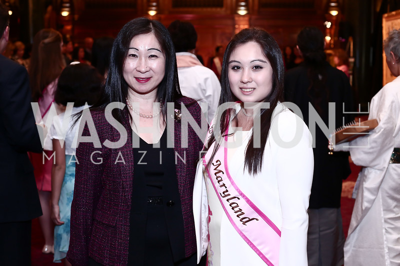 Kiyomi Buker, MD Cherry Blossom Princess Amanda Buker. Photo by Tony Powell. Cherry Blossom Art Reception. Willard Hotel. April 14, 2016