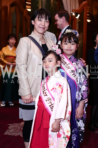 Megumi Kambe, Junior Princesses Miho Kambe and Marina Kambe. Photo by Tony Powell. Cherry Blossom Art Reception. Willard Hotel. April 14, 2016