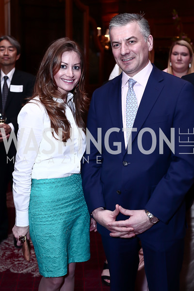 Carr Hospitality's Jessica Harrison, Willard Hotel Manager James Ryan. Photo by Tony Powell. Cherry Blossom Art Reception. Willard Hotel. April 14, 2016