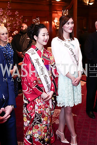 2016 Japan Cherry Blossom Queen Aiko Masuda, 2015 US Cherry Blossom Queen Noelle Verhelst. Photo by Tony Powell. Cherry Blossom Art Reception. Willard Hotel. April 14, 2016