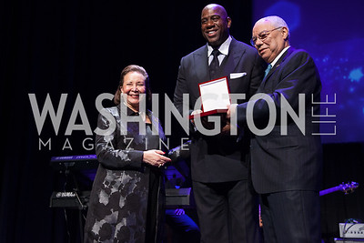 "Alma Powell and Colin Powell honoring Earvin ""Magic"" Johnson with Promise Night Award"