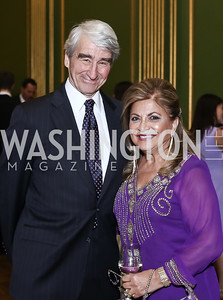 Sam Waterston, Annie Totah. Photo by Tony Powell. RI's 37th Annual Dinner Mellon Auditorium. April 26, 2016