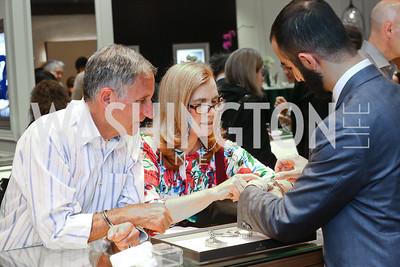Jeff and Lauretta Skigen, Abraham Kaker. Photo by Tony Powell. 2016 Rolex Baselworld Event. L&B. June 21, 2016