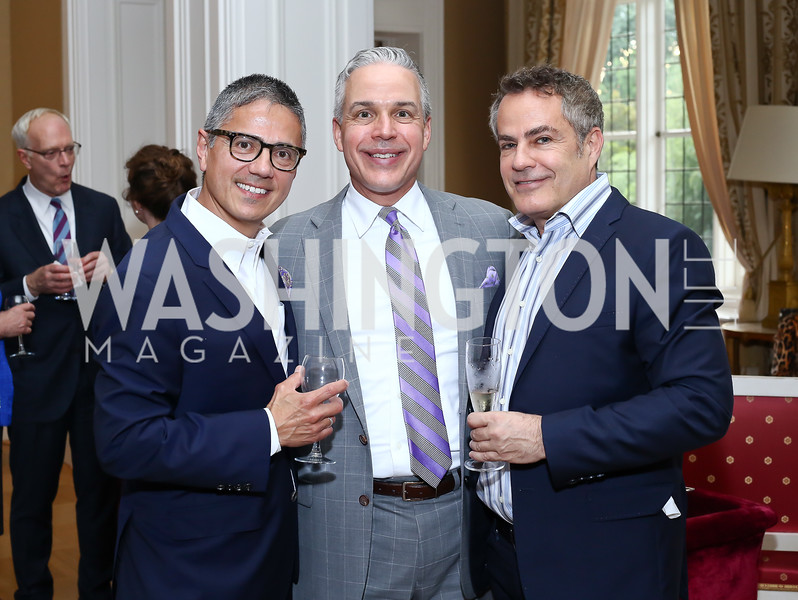 Vice President Joe Biden Residence Manager and Social Secretary Carlos Elizondo, Mark Dumas, Peter Pappas. Photo by Tony Powell. Septime's Farewell. Residence of France. June 6, 2016