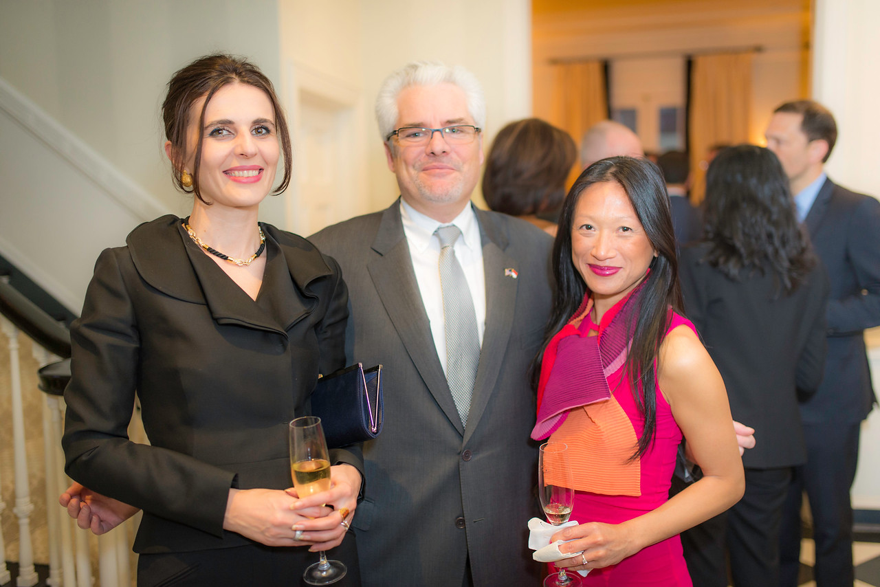 H.E. Vlora Çitaku, Ambassador of the Republic of Kosovo; Mr. Lorenzo Ravano, Dep. Chief of Mission at Embassy of Monaco, and his wife, Mrs. Sophie de Sigaldy,