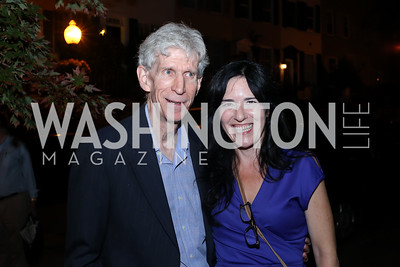 """Gareth Porter, Nora Maccoby. Photo by Tony Powell. """"Snowden"""" Screening After Party. Chez Billy Sud. September 7, 2016"""