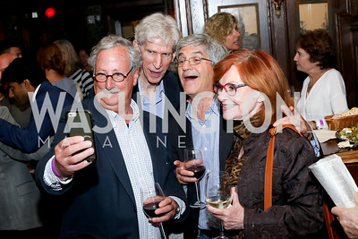 "Jeff Stein, Gareth Porter, Michael Isikoff, Myra MacPherson. Photo by Tony Powell. ""Snowden"" Screening After Party. Chez Billy Sud. September 7, 2016"