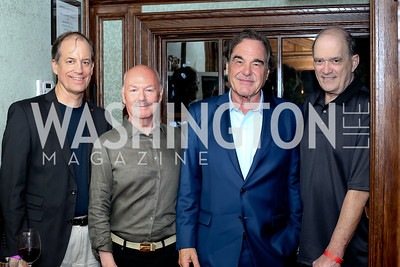 "Thomas Drake, James Bamford, Oliver Stone, William Binney. Photo by Tony Powell. ""Snowden"" Screening After Party. Chez Billy Sud. September 7, 2016"