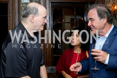 "William Binney, Chong Stone, Oliver Stone. Photo by Tony Powell. ""Snowden"" Screening After Party. Chez Billy Sud. September 7, 2016"