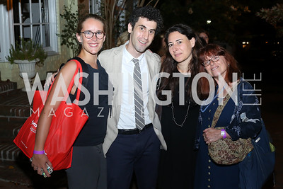 "The Intercept's Jenna McLaughlin, Mattathias Schwartz, Sharon Weinberger, and Margot Williams. Photo by Tony Powell. ""Snowden"" Screening After Party. Chez Billy Sud. September 7, 2016"