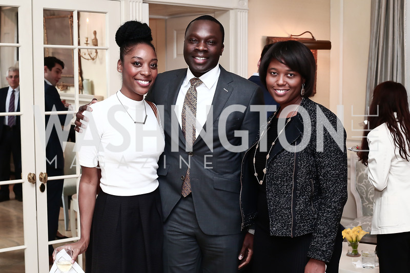 "Emerald Stewart, Tolu Adeyemi, Jade Floyd. Photo by Tony Powell. Steve Case ""The Third Wave"" Book Party. Bradley Residence. March 30, 2016"