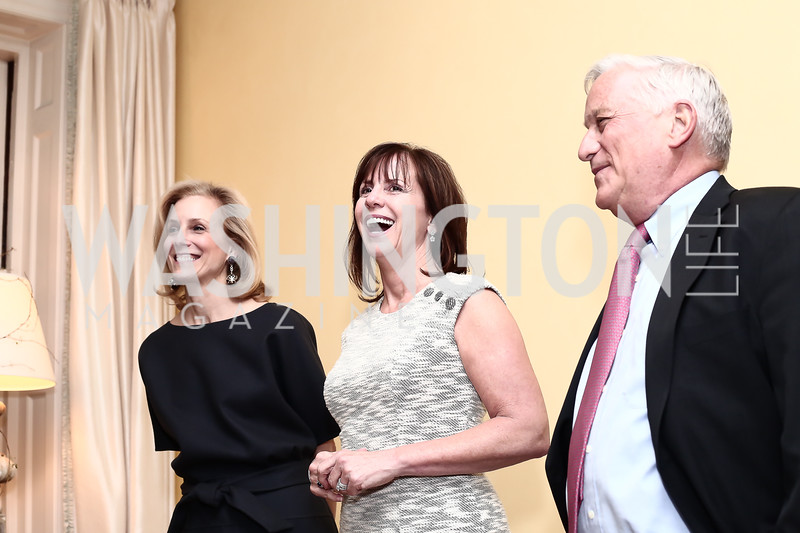 "Katherine Bradley, Jean Case, Walter Isaacson. Photo by Tony Powell. Steve Case ""The Third Wave"" Book Party. Bradley Residence. March 30, 2016"